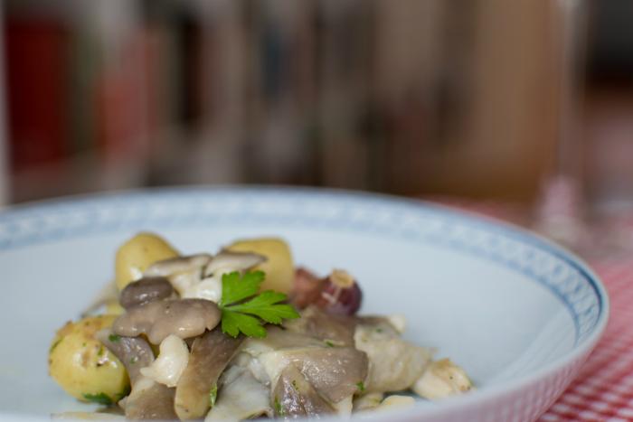 Kartofler og østershatte